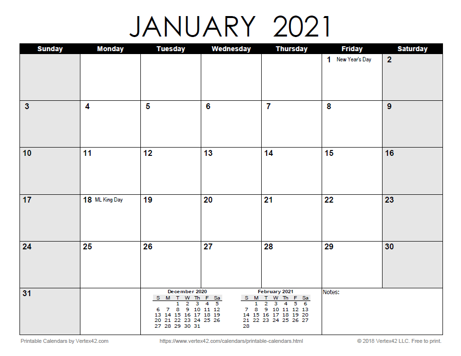 Free Print 2021 Calendars Without Downloading | Calendar-Fill In Calendar January 2021
