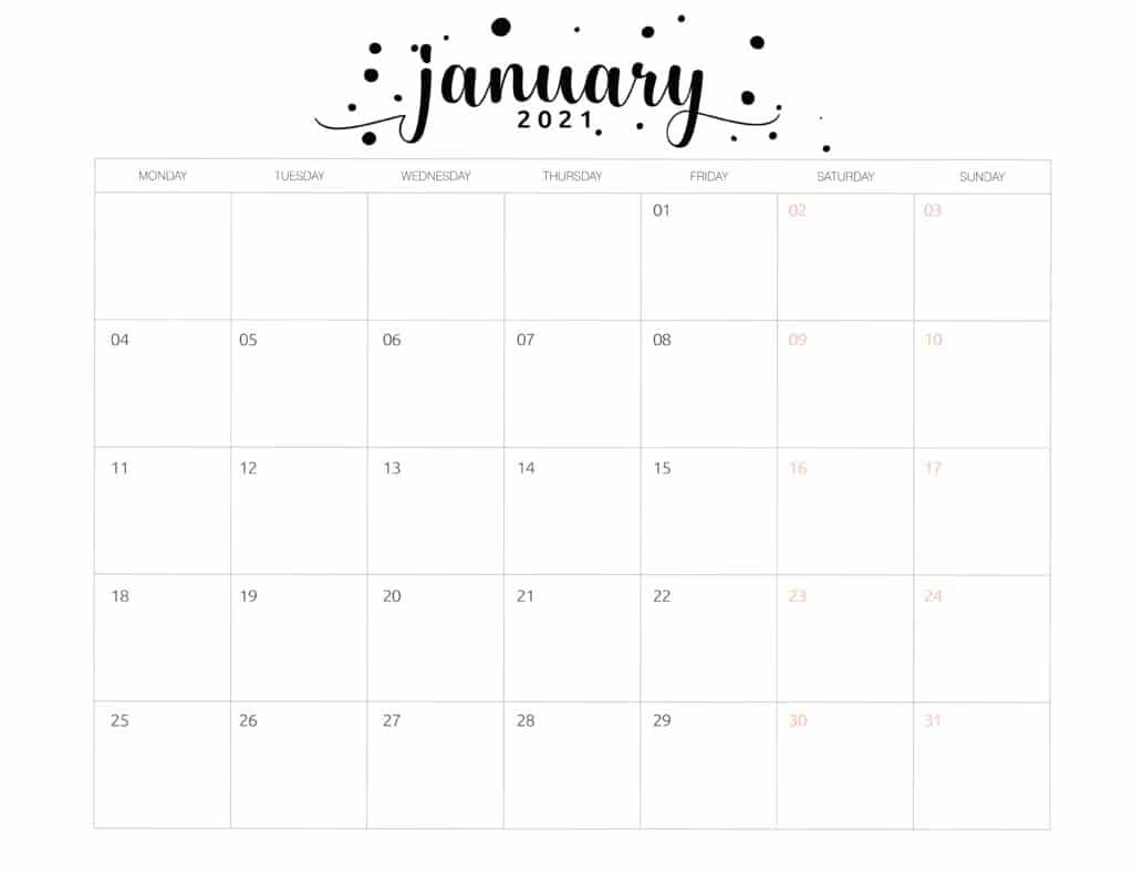 Free Printable 2021 Calendar Brush Art - World Of Printables-Printable 81/2 X 11 January 2021 Calendar