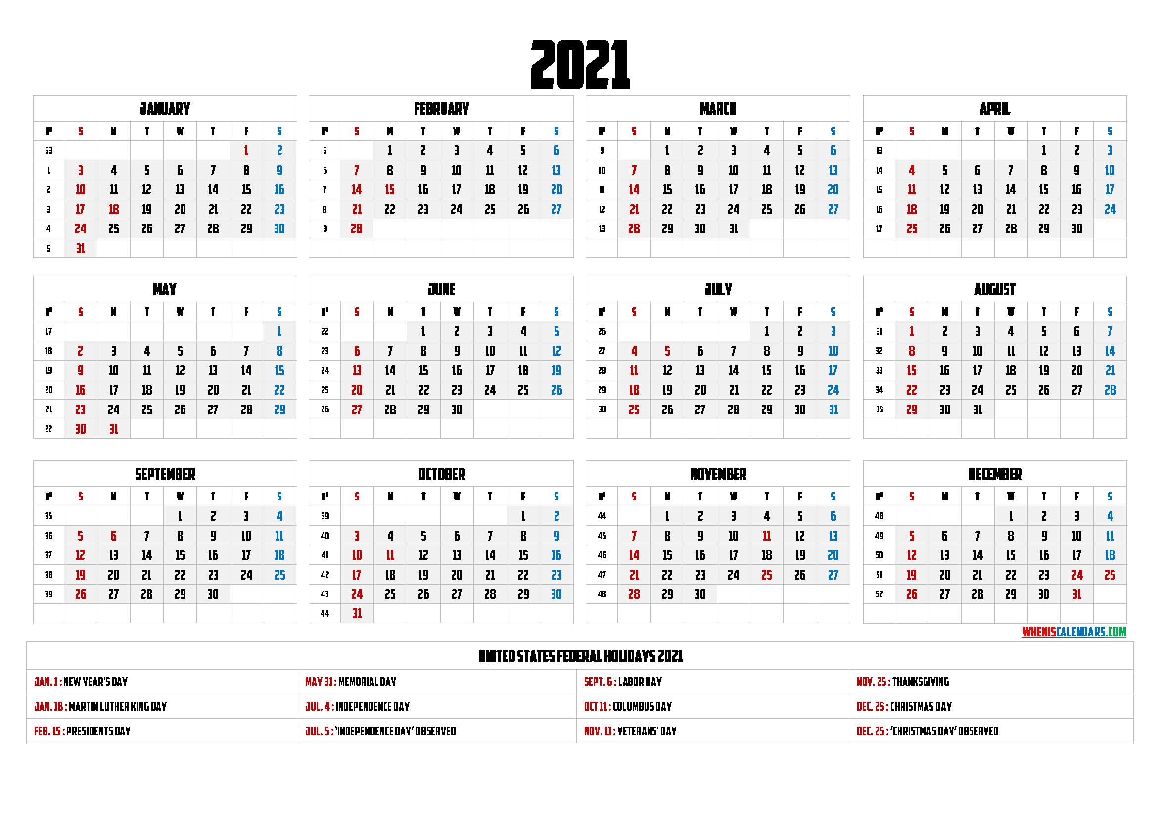 Free Printable 2021 Calendar With Holidays - 9 Templates-Fillable Calendar 2021-2021 Year