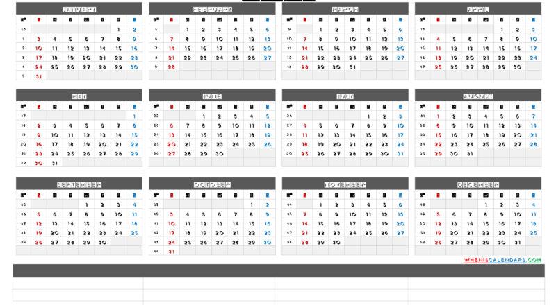 Free Printable 2021 Yearly Calendar With Week Numbers (6-2021 Annual Calendar Printable