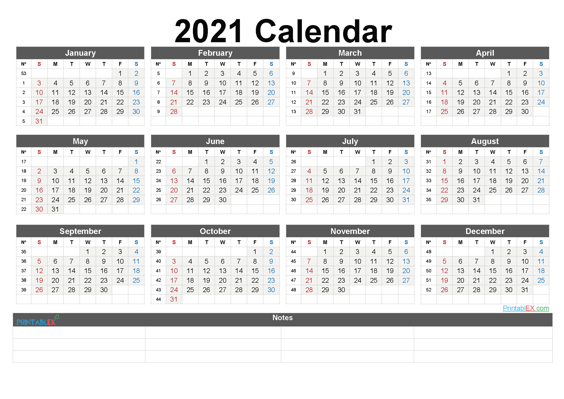 Free Printable 2021 Yearly Calendar With Week Numbers-Fillable Calendar 2021-2021 Year