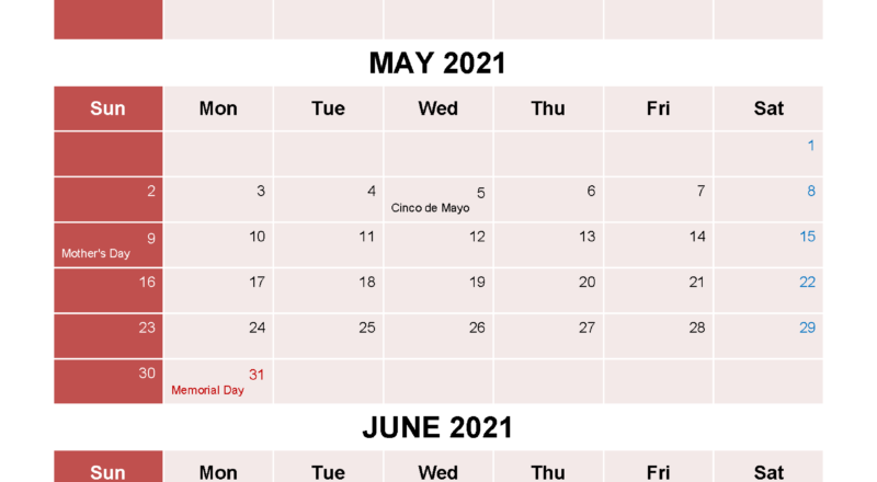 Free Printable April May June 2021 Calendar 3 Months 1-3 Month Printable Calendar Templates 2021