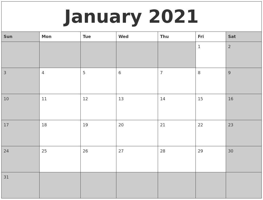 Free Printable Calendar 2021 January Monthly - Web Galaxy-Fill In Calendar January 2021