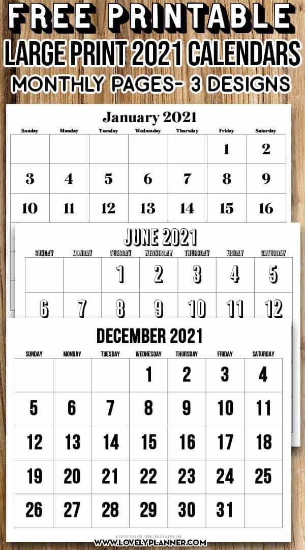 Free Printable Large Print 2021 Calendar - 12 Month-3 Month Printable Calendar Templates 2021