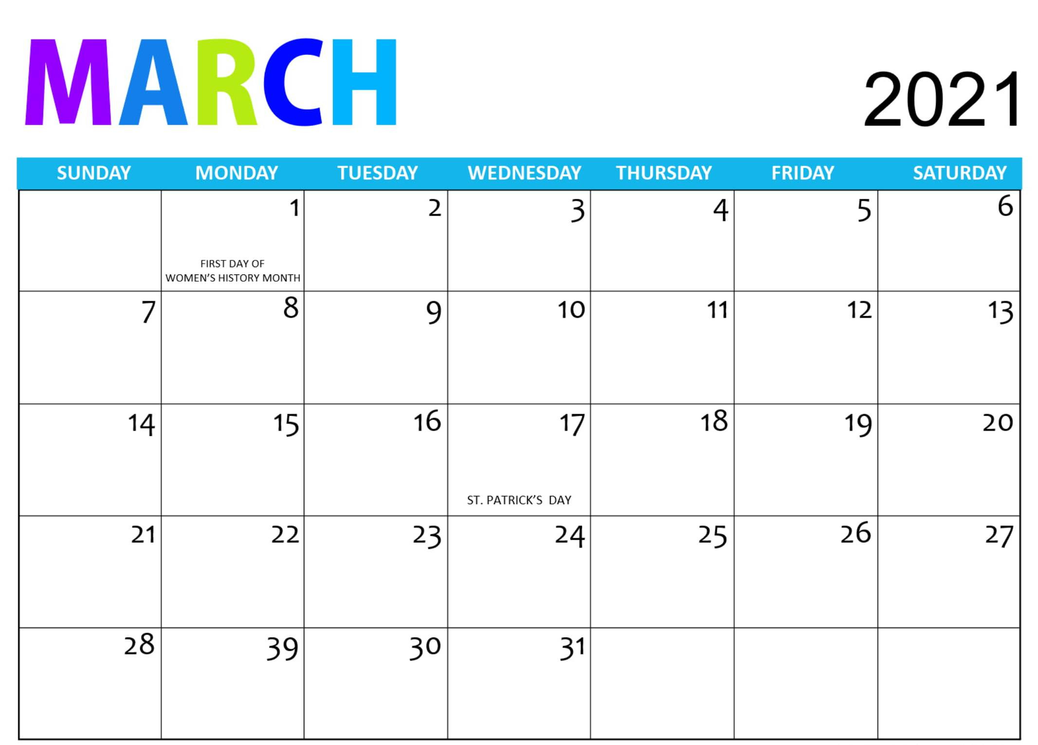 Free Printable March 2021 Calendar Pages Sheets - One-Printable Bill Calendar 2021