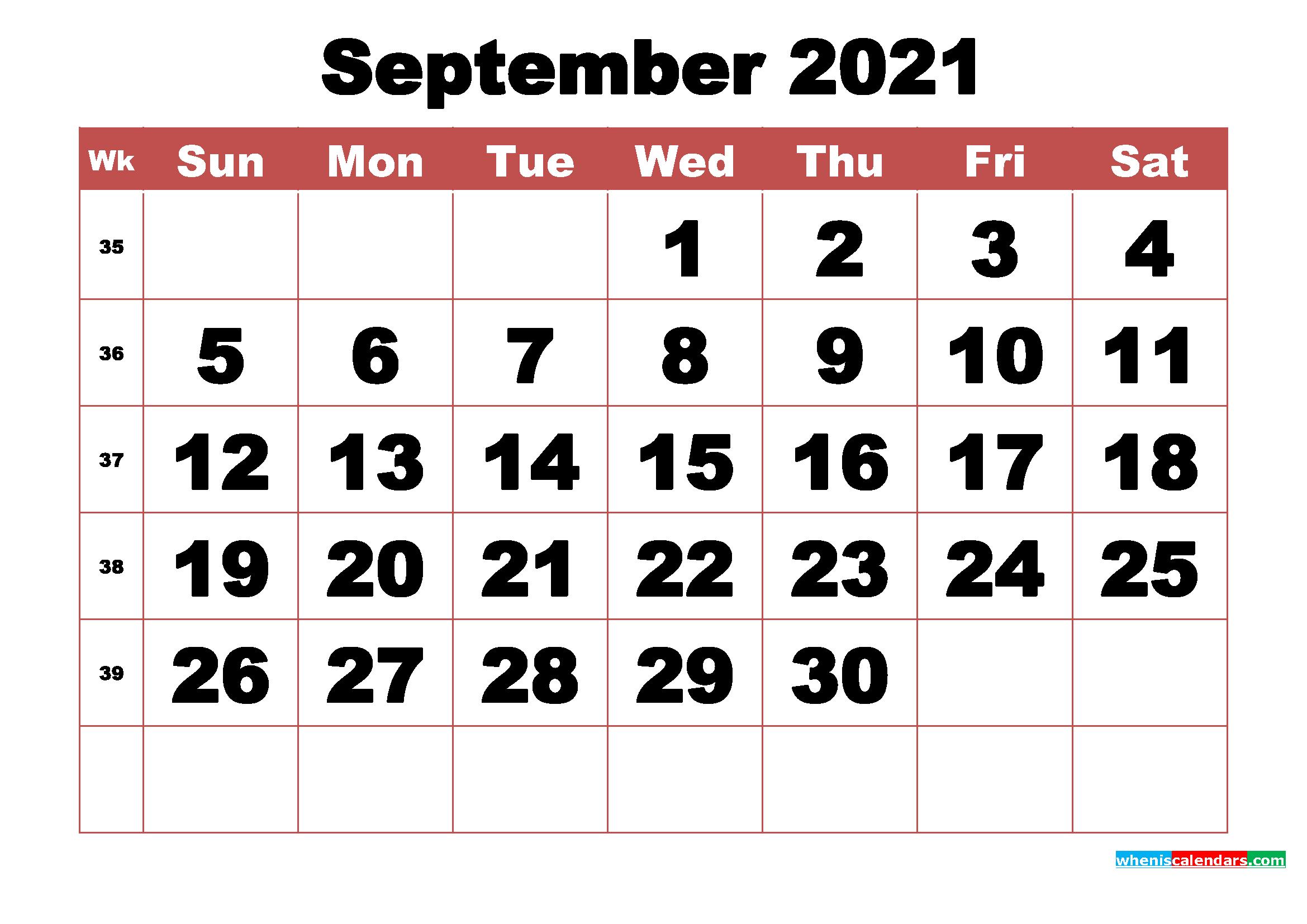 Free Printable September 2021 Calendar With Week Numbers-3 Month Printable Calendar Templates 2021