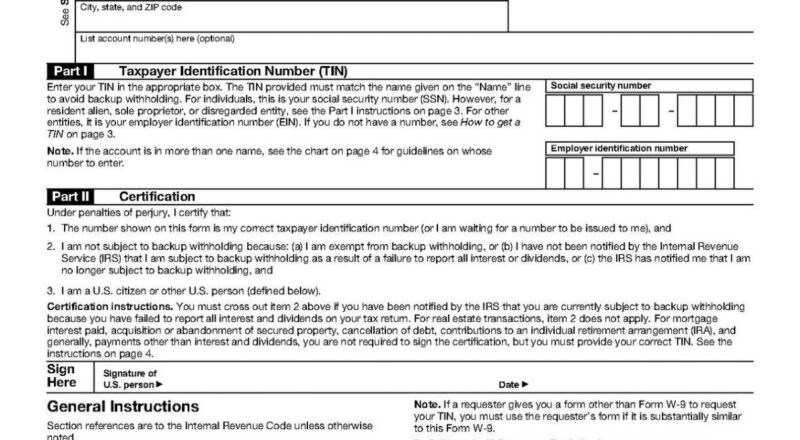 Free Printable W9 Form From Irs | W-9 Form Printable-Print 2021 W9