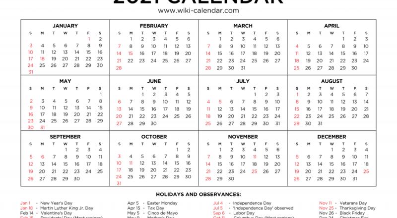 Free Printable Year 2021 Calendar With Holidays-Everyday Holiday Calendar 2021