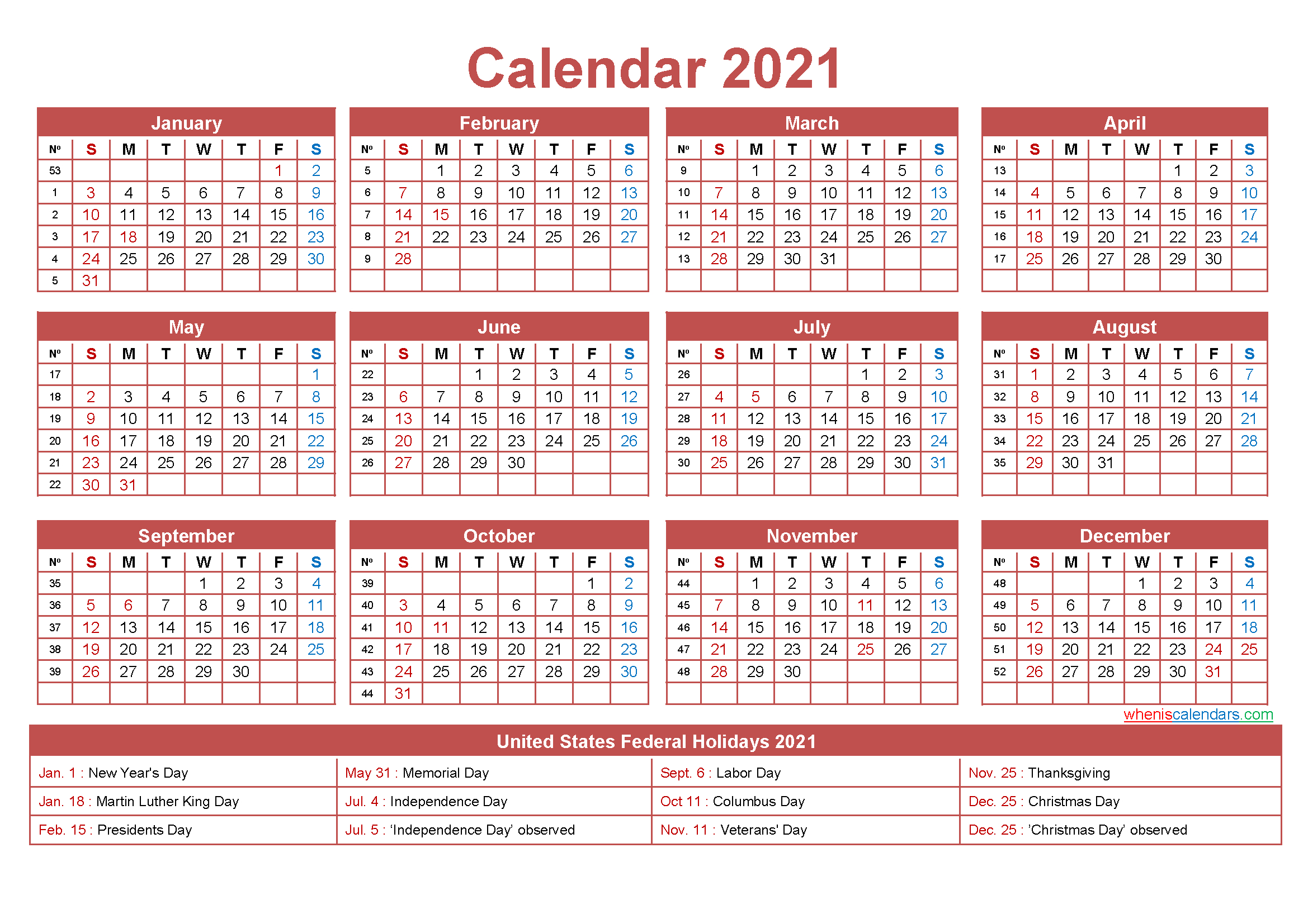 Free Printable Yearly 2021 Calendar With Holidays As Word-Free Printable Monthly Calender 2021