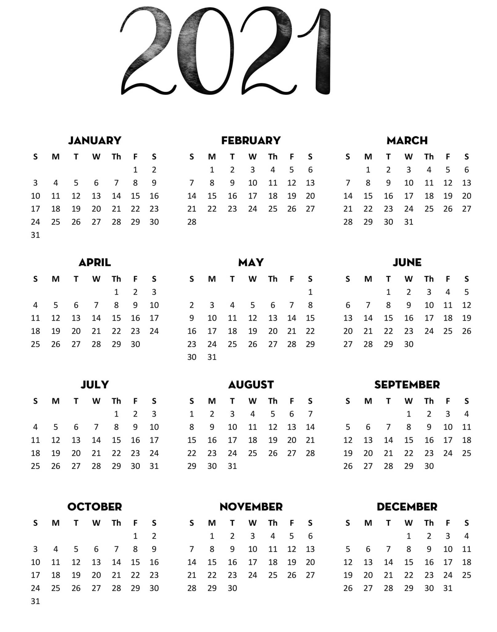 Full Year Printable Calendar 2021 With Notes   Free-Fillable Calendar 2021-2021 Year