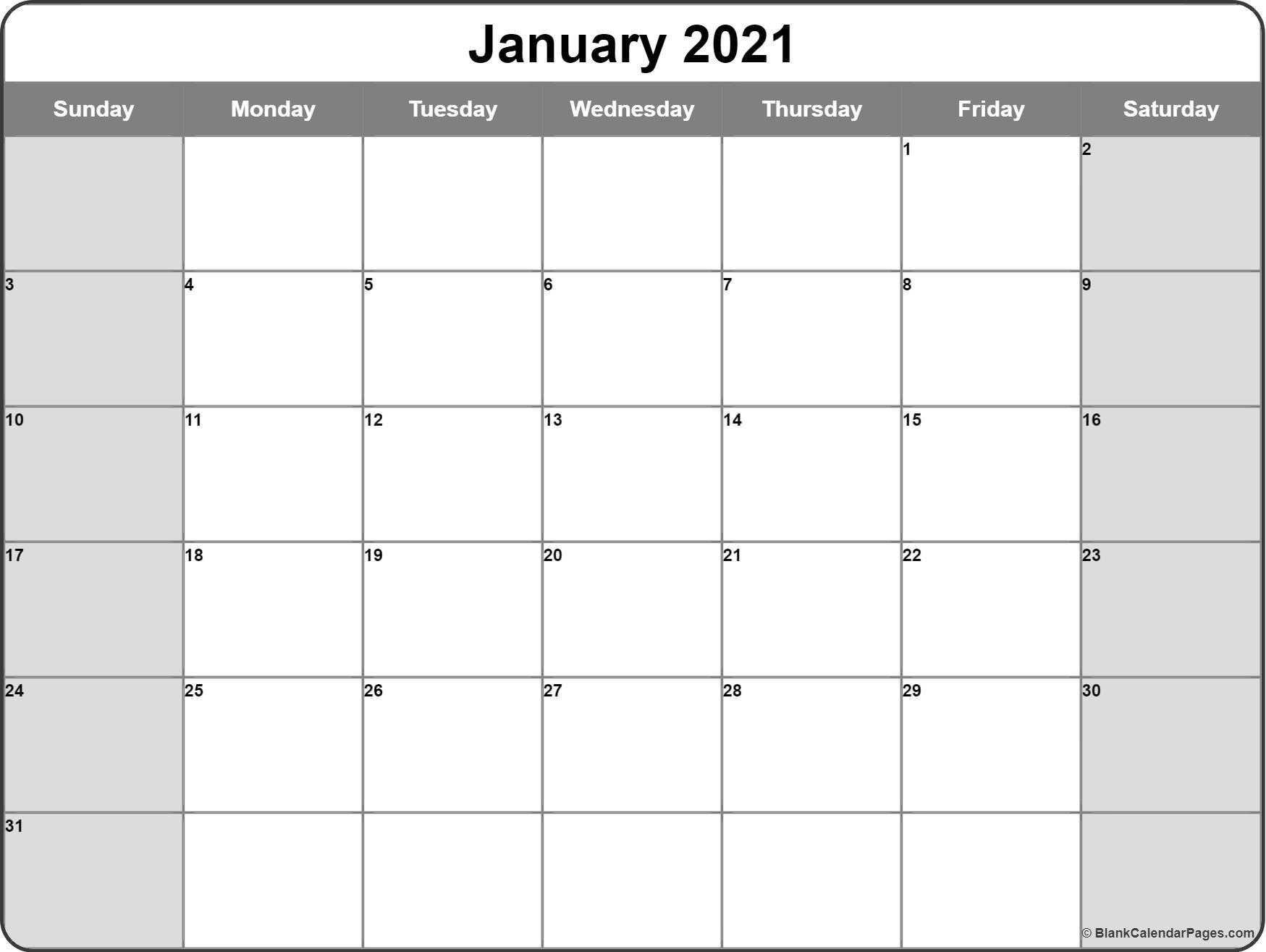 January 2021 Calendar   Free Printable Calendar Templates-2021 Two Page Monthly Calendar Printable