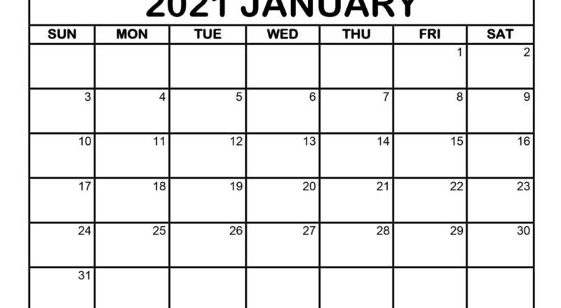 January 2021 Printable Calendar Template - Pdf, Word, Excel-Free Printable Monthly Calender 2021