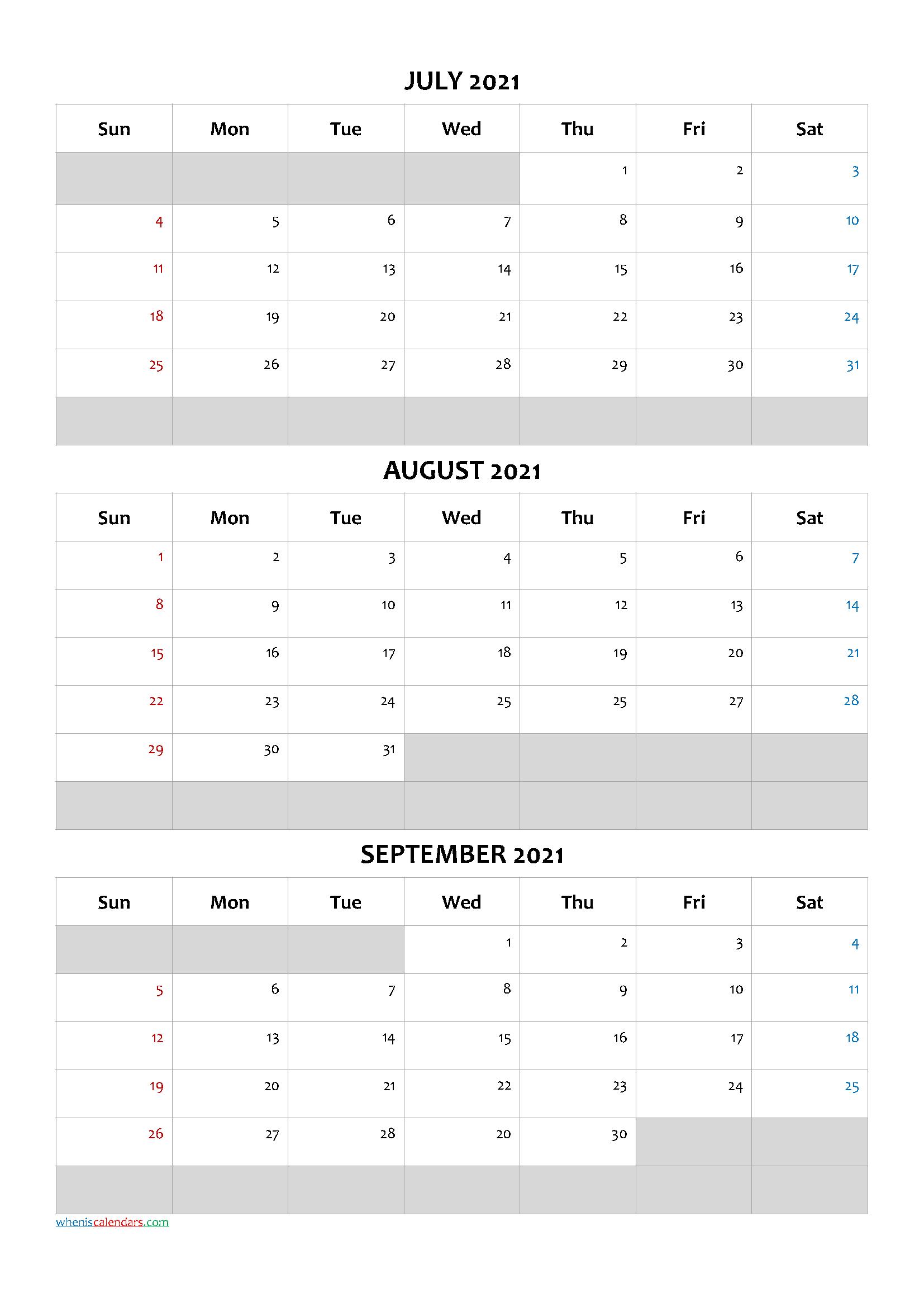 January February March 2021 Calendar Template [Q1-Q2-Q3-Q4-3 Month Printable Calendar Templates 2021