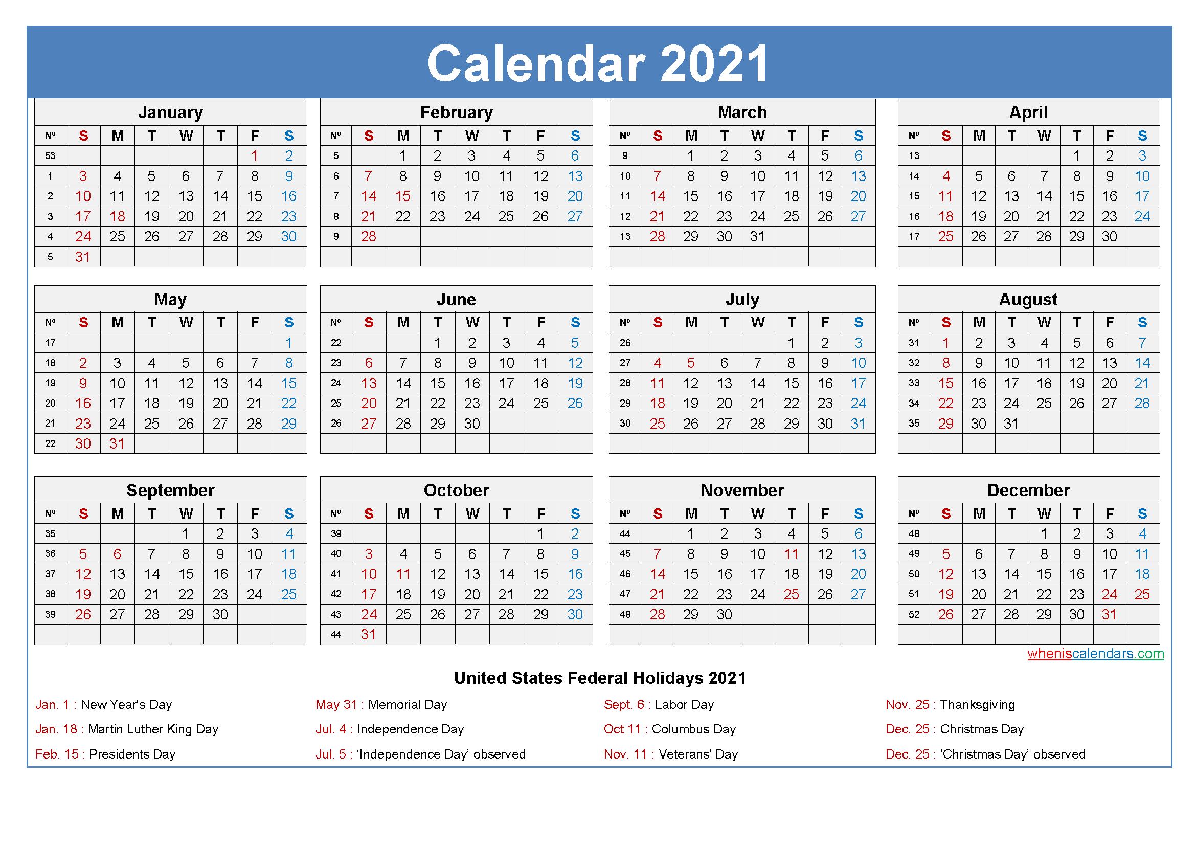 Large Desk Calendar 2021 With Holidays-Printable Calendar 2021 With Major Holidays