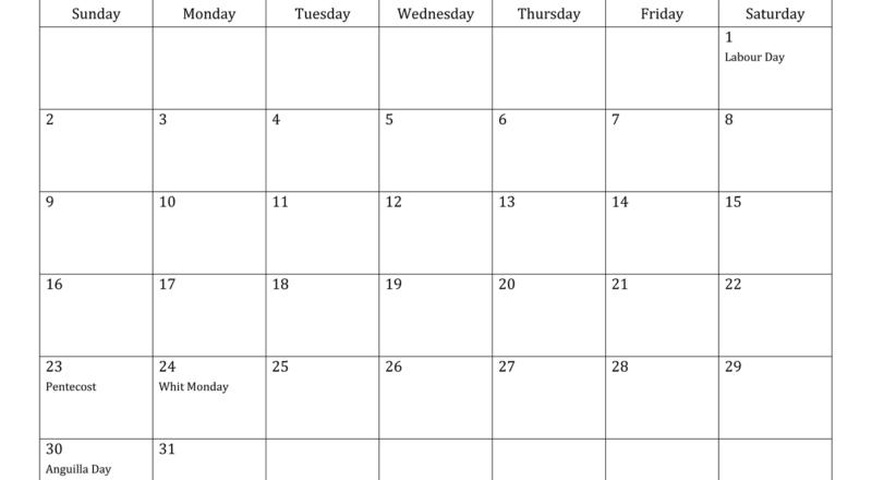May 2021 Calendar - Anguilla-Printable List Of 2021 National Days