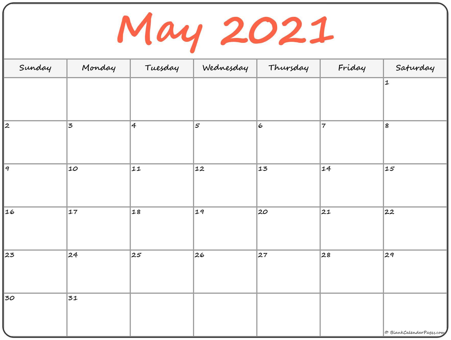 May 2021 Calendar   Free Printable Calendar Templates-Free Printable Calendar 2021 4 Months Per Page May August