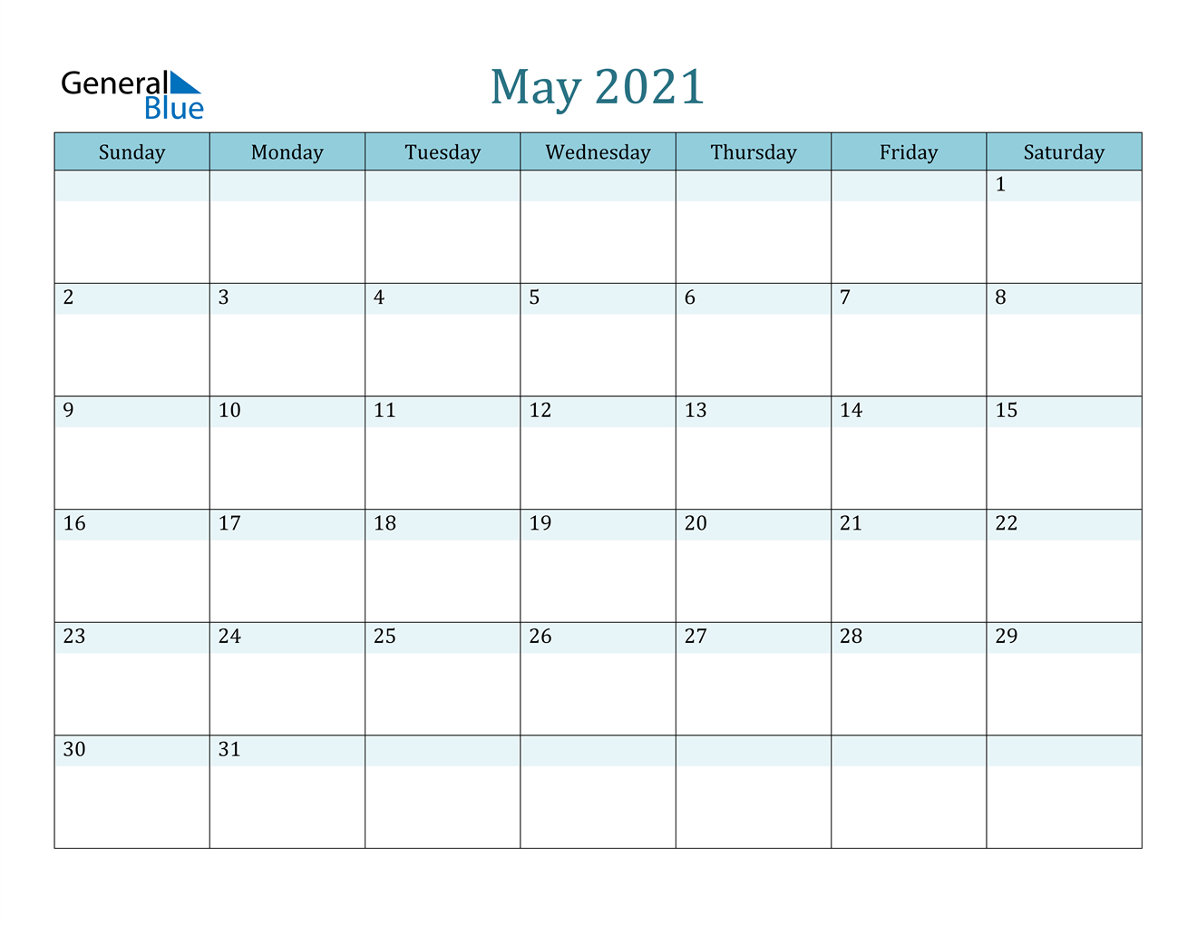 May 2021 Calendar (Pdf Word Excel)-Free Editable Calendar Template 2021 Excel