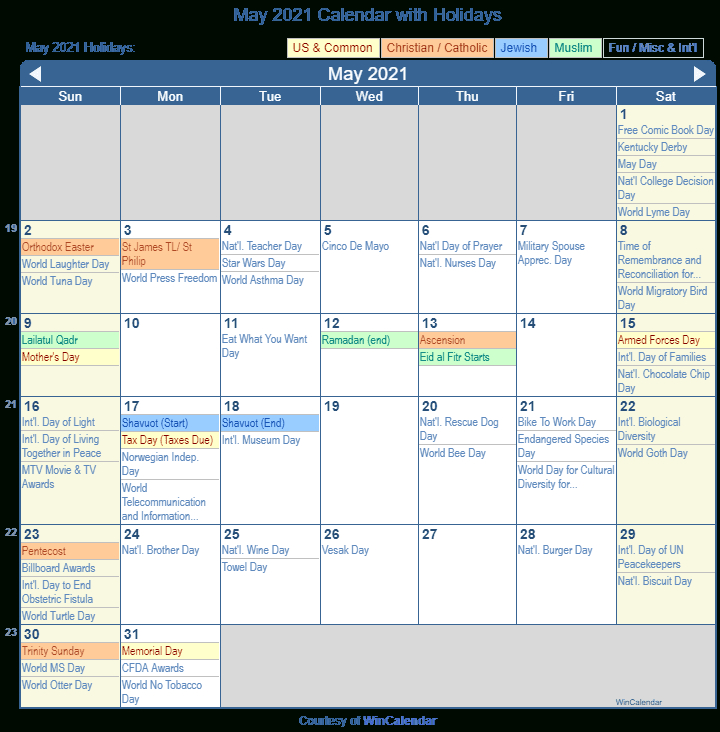May 2021 Holiday Calendar   Printable March-Printable List Of 2021 National Days