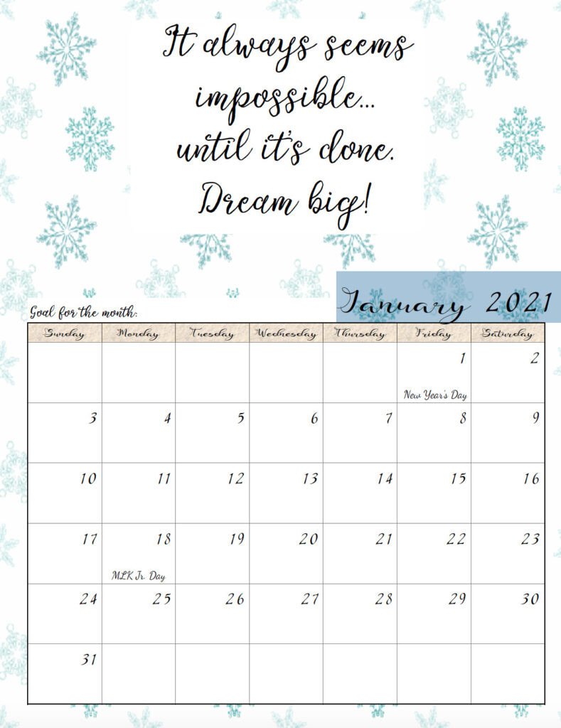 Motivational Calendar Printable 2021   Free 2021 Printable-Free Printable Calendar 2021 Monthly