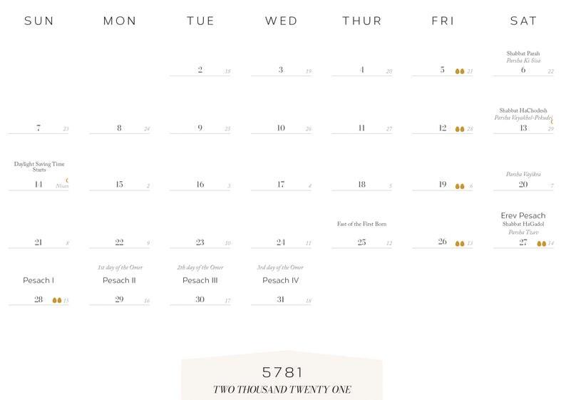 New 2021 American Jewish Printable Calendar Jewish-Jewish Holidays 2021