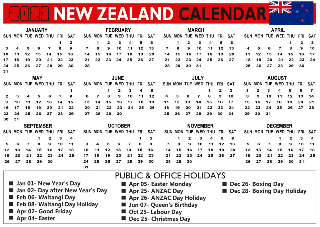 New Zealand 2021 Calendar With Bank, Public, School-Printable 2021 2021 School Calendar