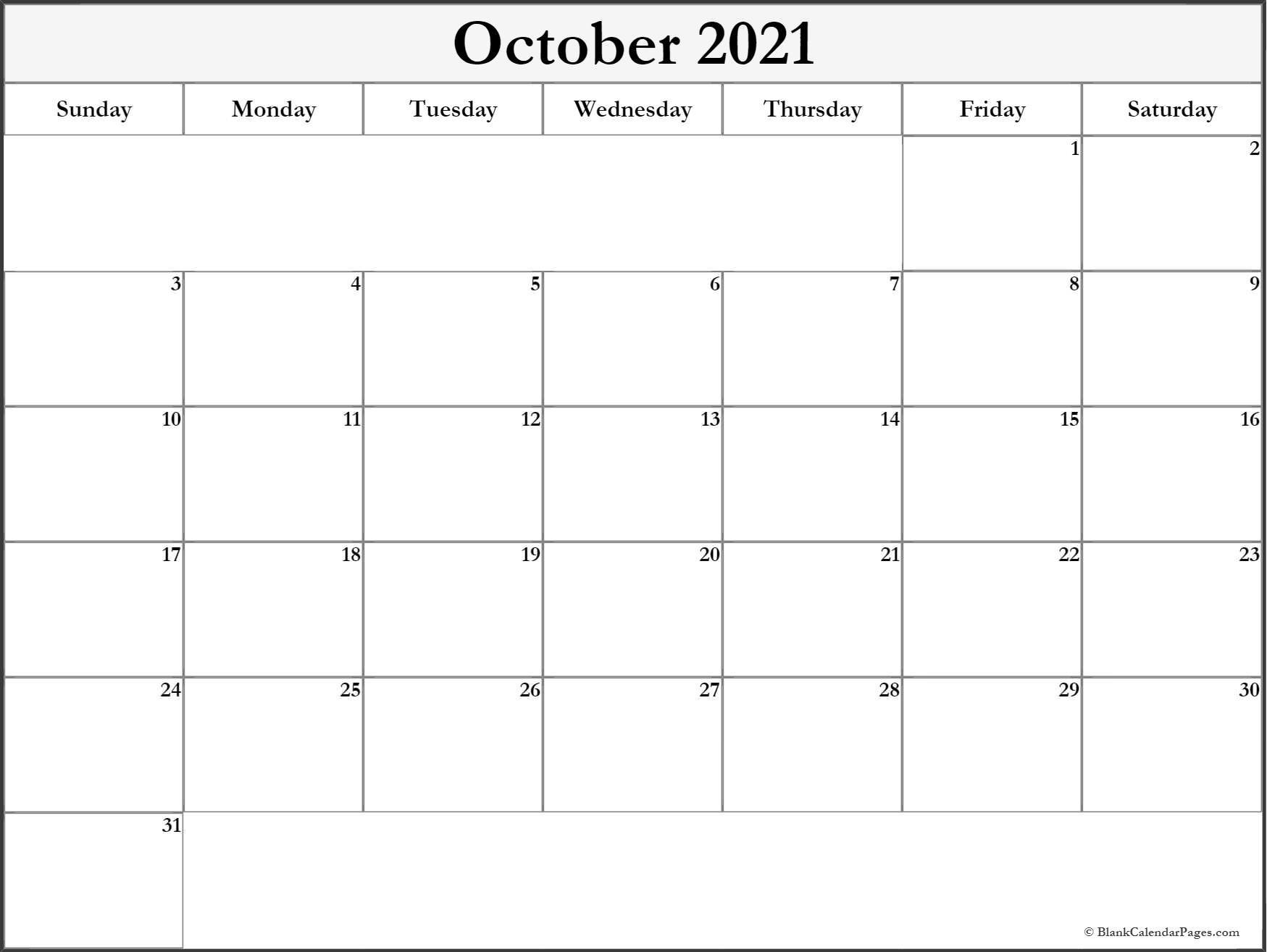 October 2021 Blank Calendar Templates.-Monthly Schedule Planner August 2021
