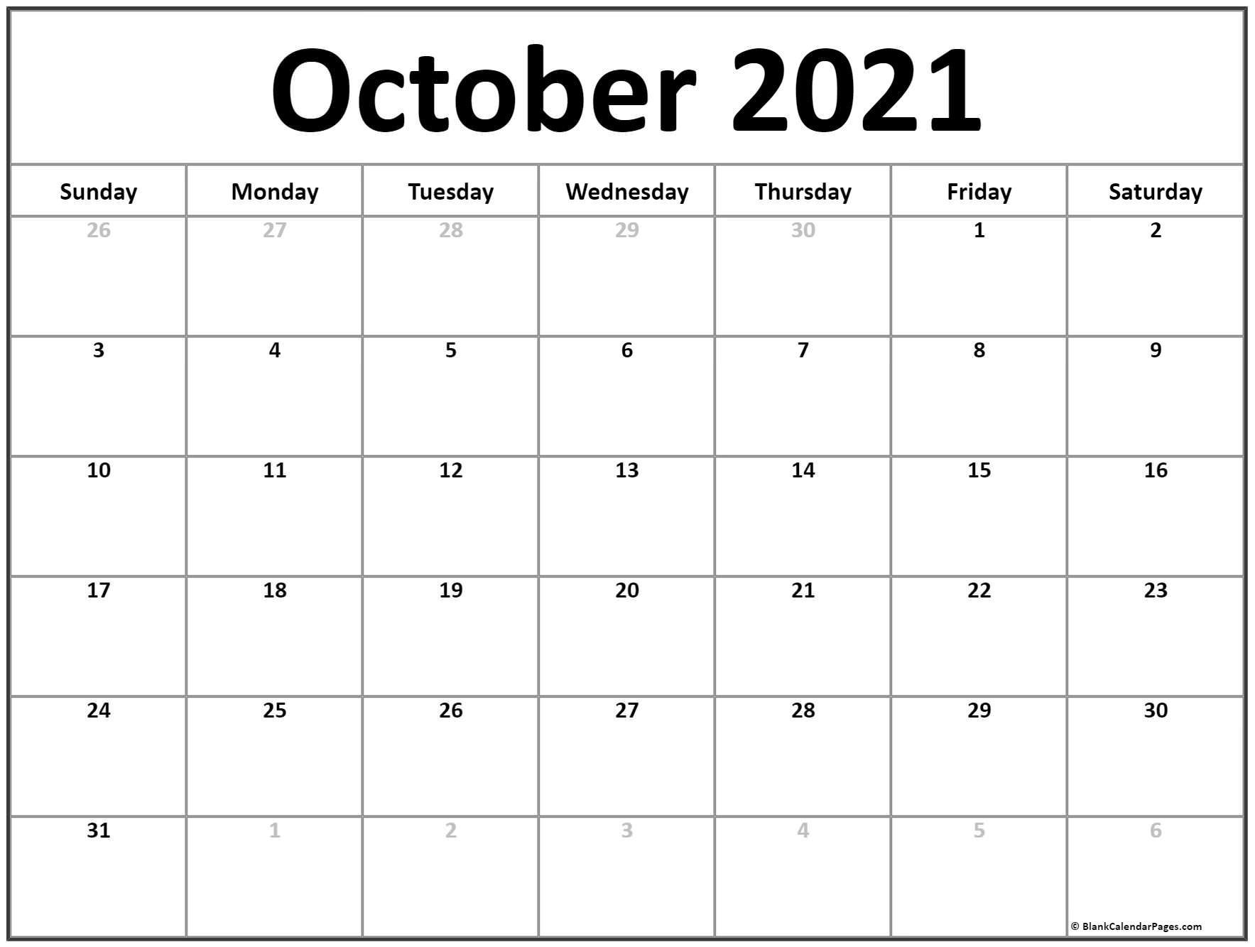 October 2021 Calendar   Free Printable Calendar Templates-Printable Bill Calendar 2021