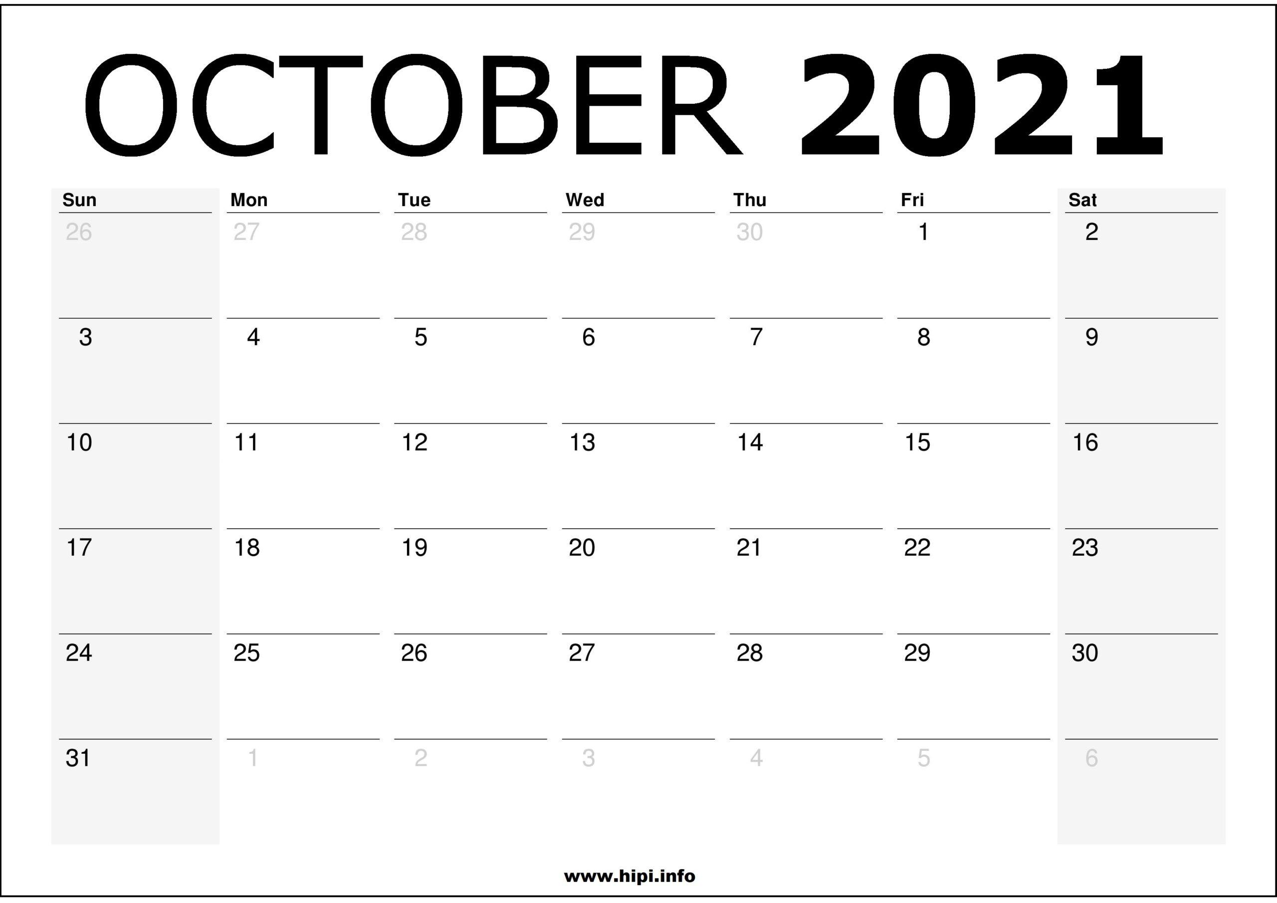 October 2021 Calendar Printable - Monthly Calendar Free-Monthly Schedule Planner August 2021