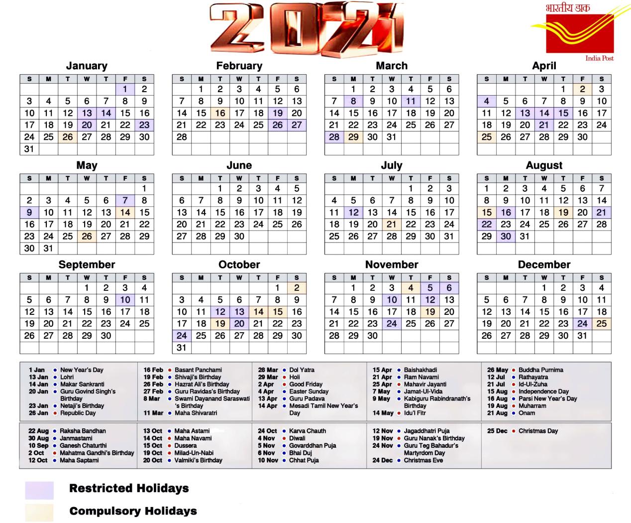 Postal Calendar 2021 - Update Restricted And Compulsory-2021 Employee Vacation Calendar
