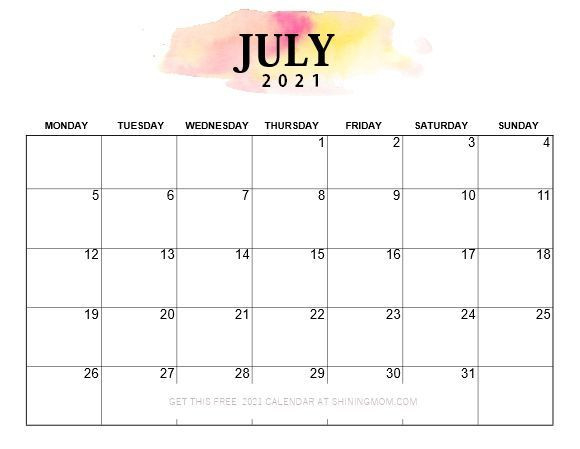 Pretty Printable 2021 Calendar, Monday Start!   Calendar-Printable Bill Calendar 2021