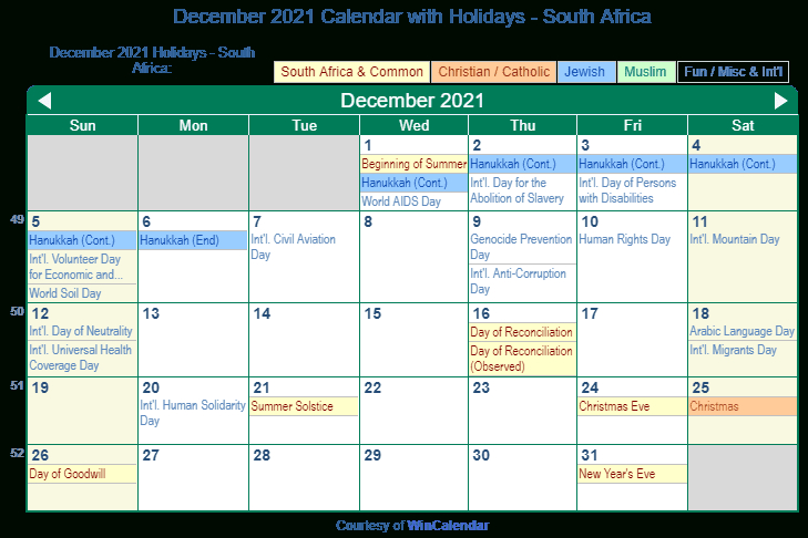 Print Friendly December 2021 South Africa Calendar For-2021 Calendar South Africa