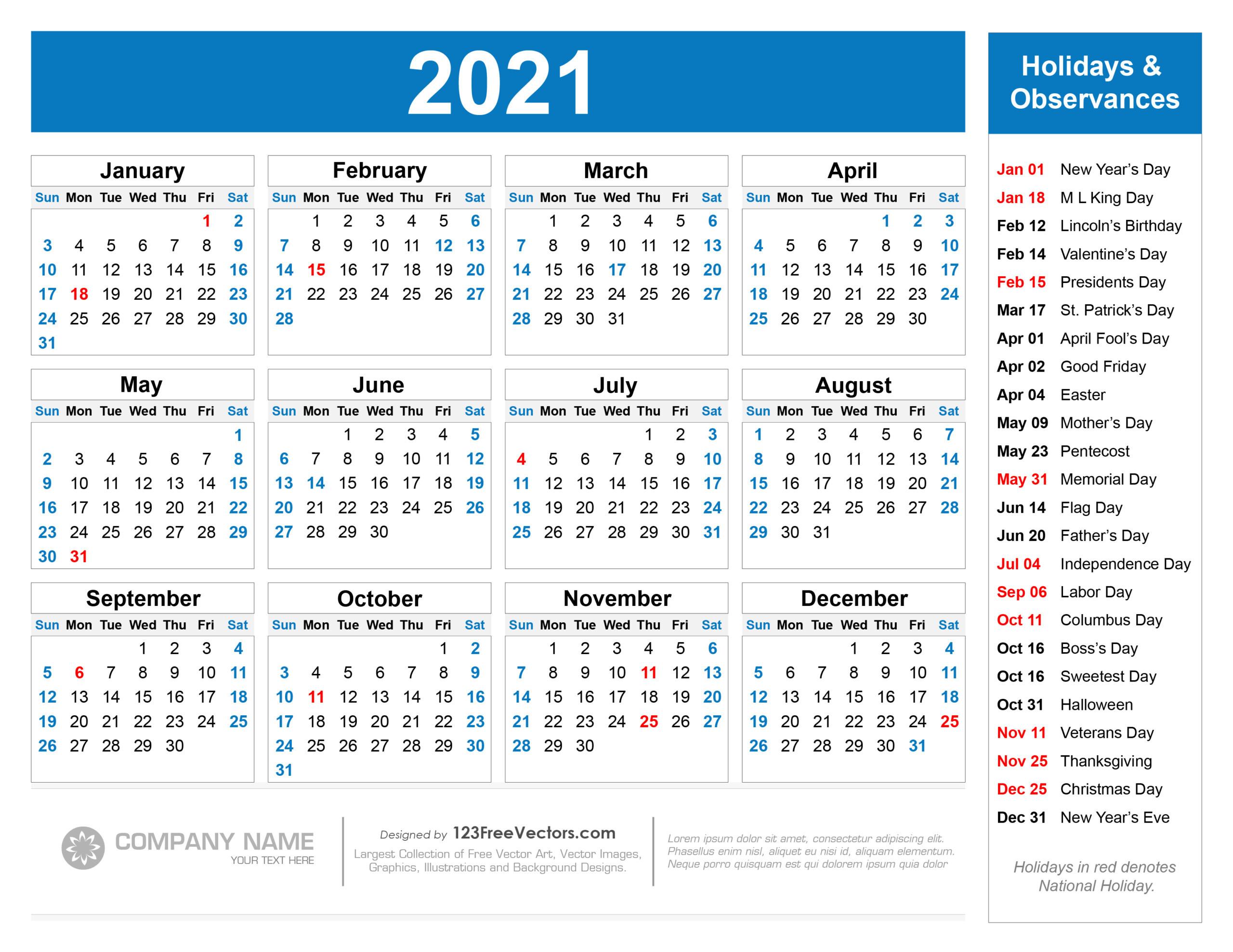 Printable 2021 And 2021 Calendar With Holidays | 2021-Printable Calendar 2021 With Major Holidays