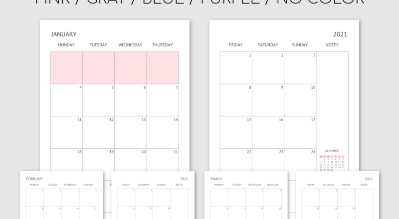 Printable 2021 Monthly Planner / Calendar - Month On 2 Pages-2 Page Monthly 2021 Calendar