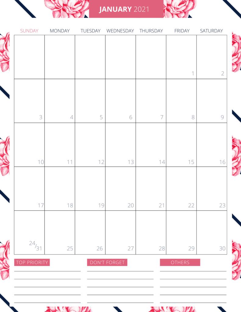 Printable 2021 Planner - Free Printable To Keep You Organized-Free Printable Hourly Calendar 2021