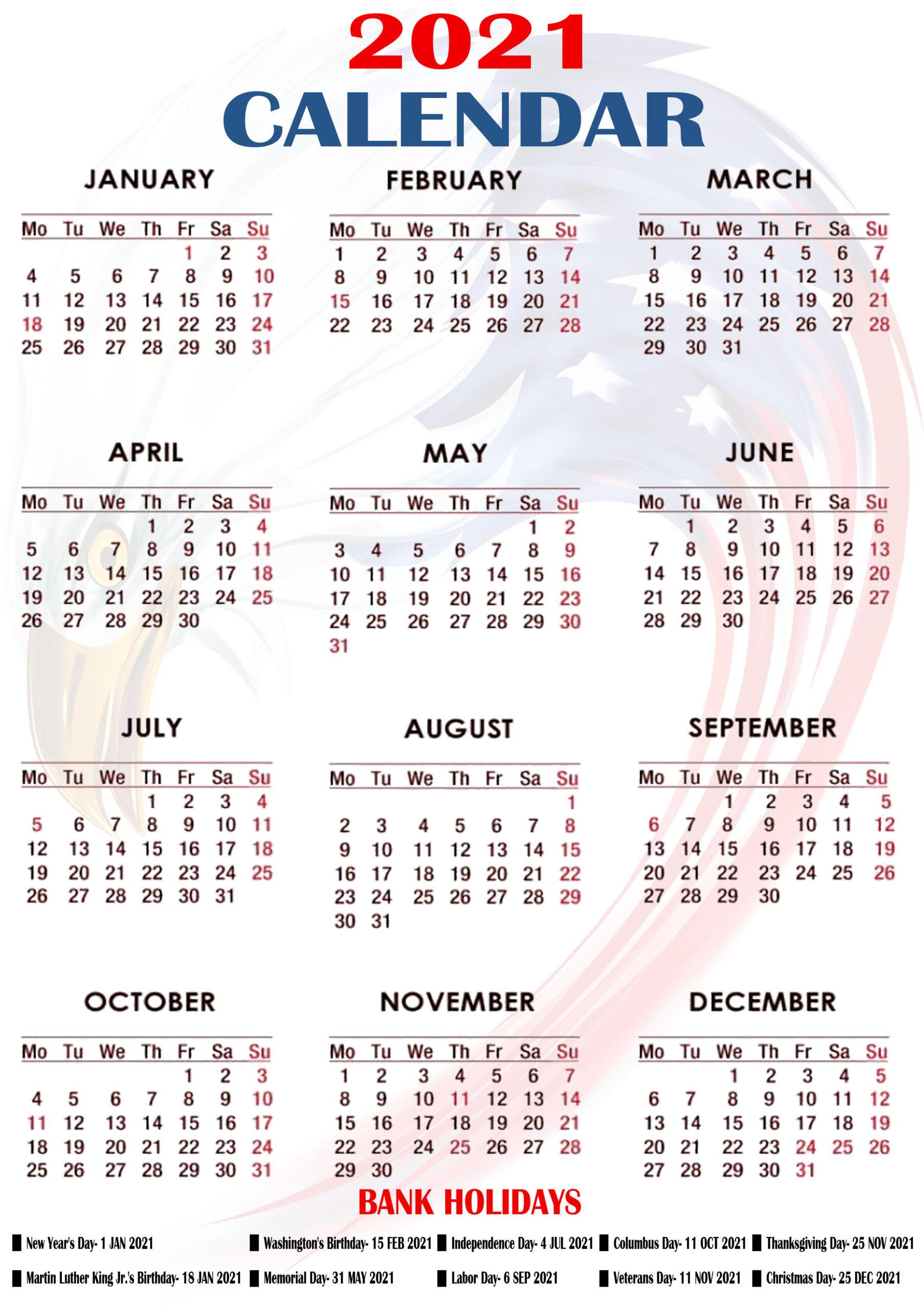 Printable 2021 Us Calendar With Holidays, Federal, Bank-Printable Calendar 2021 With Major Holidays