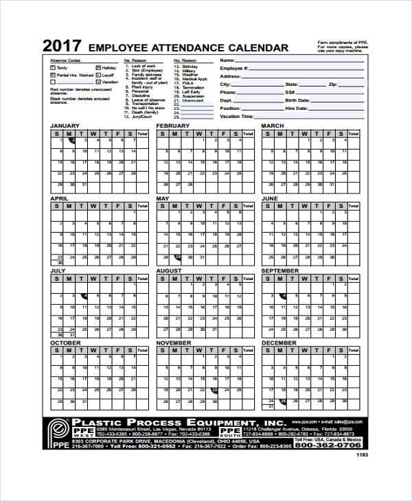 Printable Employee Time Off Tracking Calendar | Printable-Employee Attendance Calendar 2021