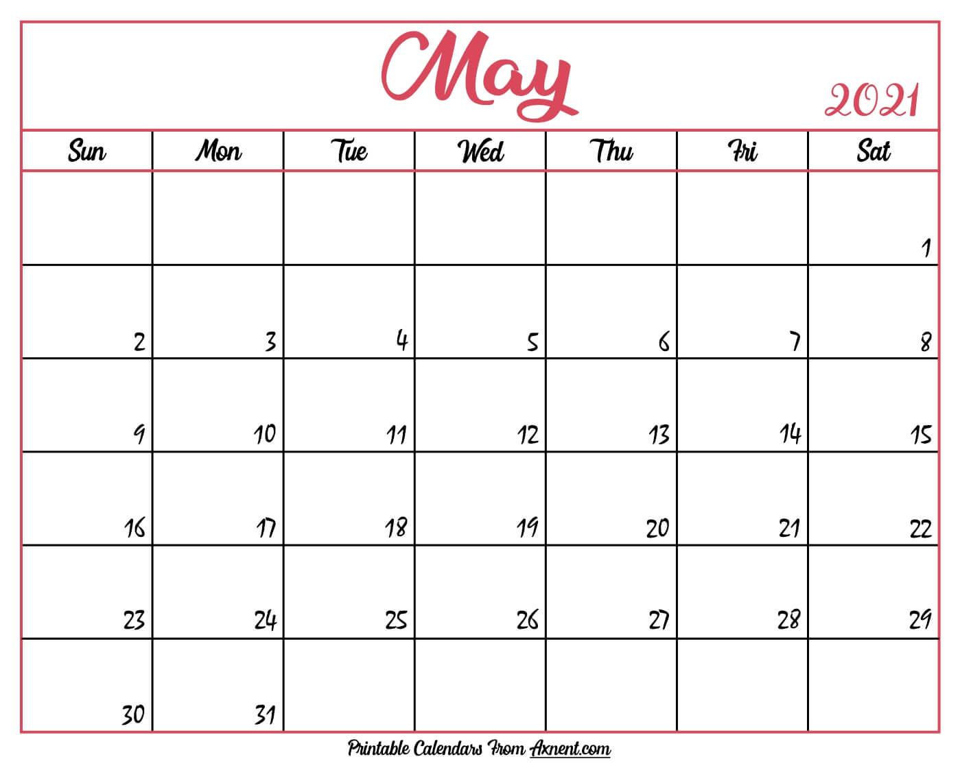 Printable May 2021 Calendar Template - Print Now-2021 Calendar Fillable