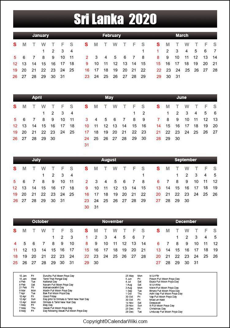 Printable Srilanka Calendar 2020 With Holidays [Public-2021 Holidays Mercantile Sl