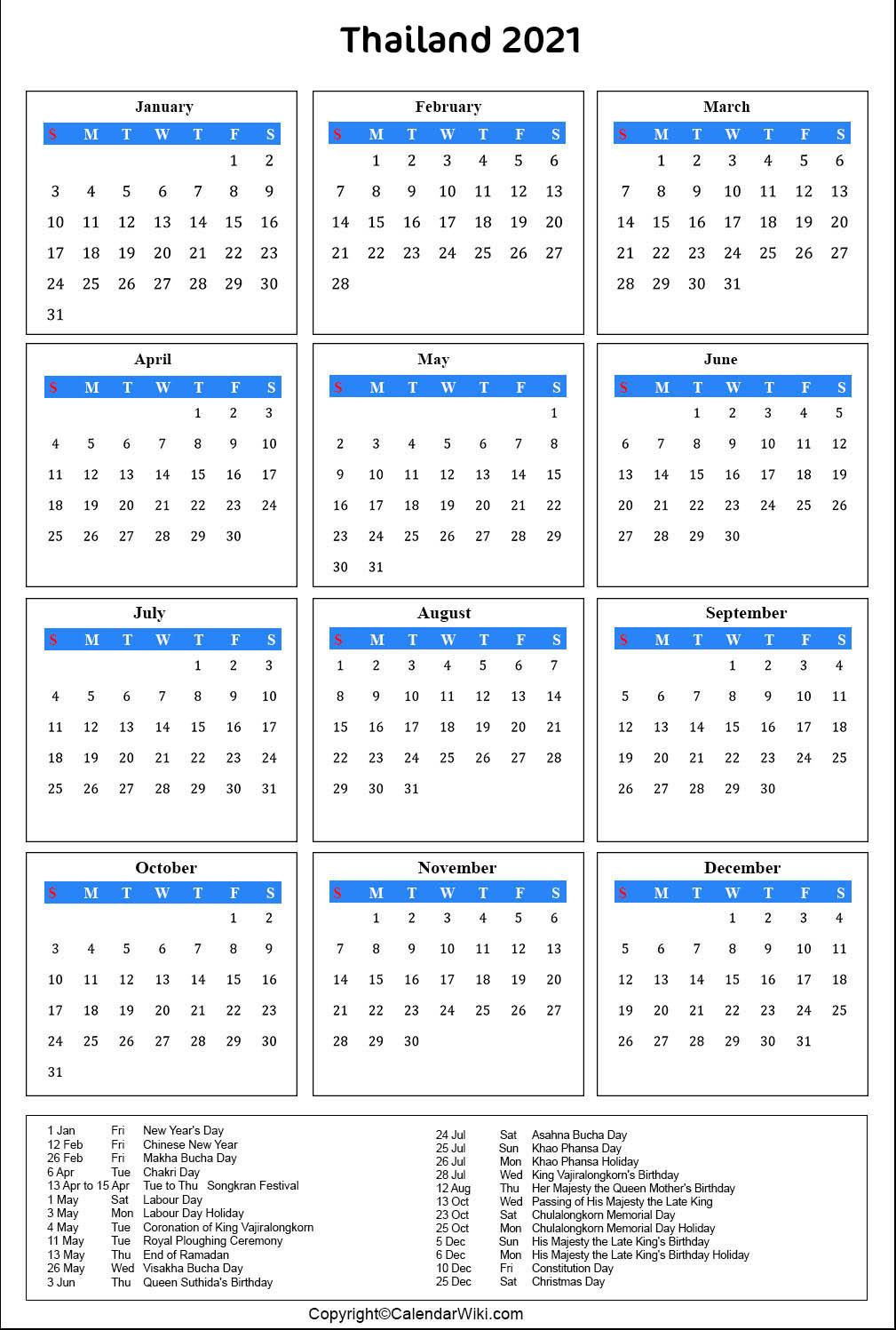 Printable Thailand Calendar 2021 With Holidays [Public-Printable List Of 2021 National Days