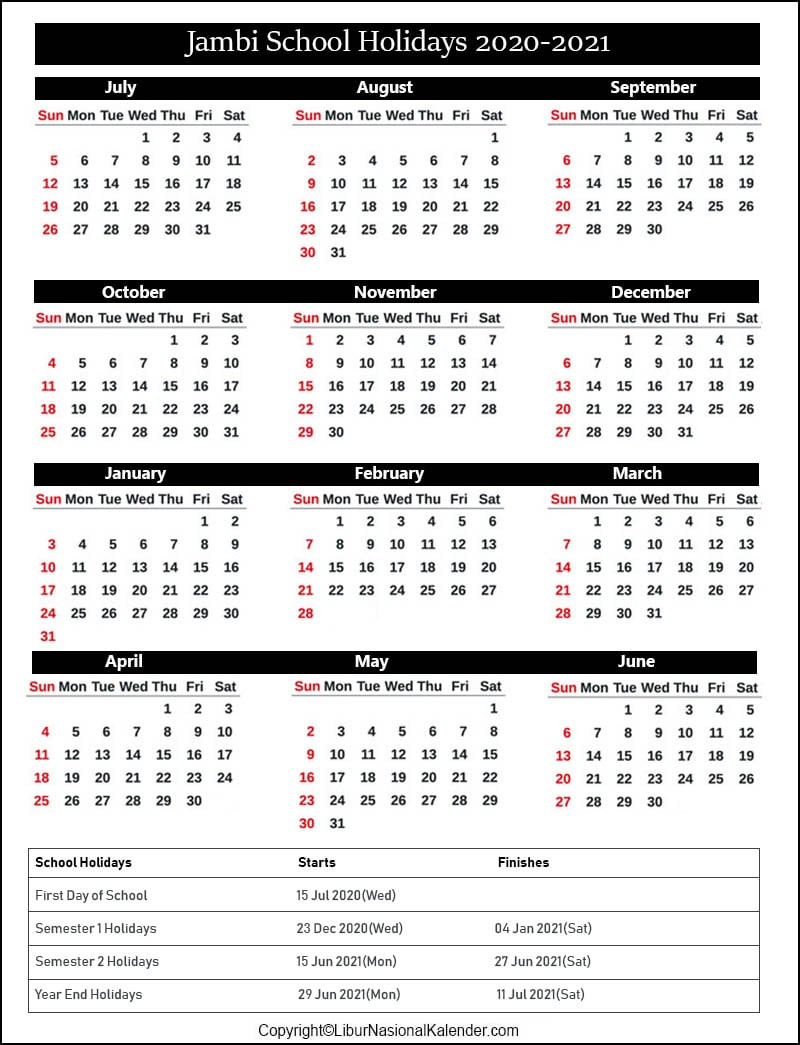 School Holidays Jambi 2020-2021 [Academic Calendar Jambi-Printable 2021 2021 School Calendar