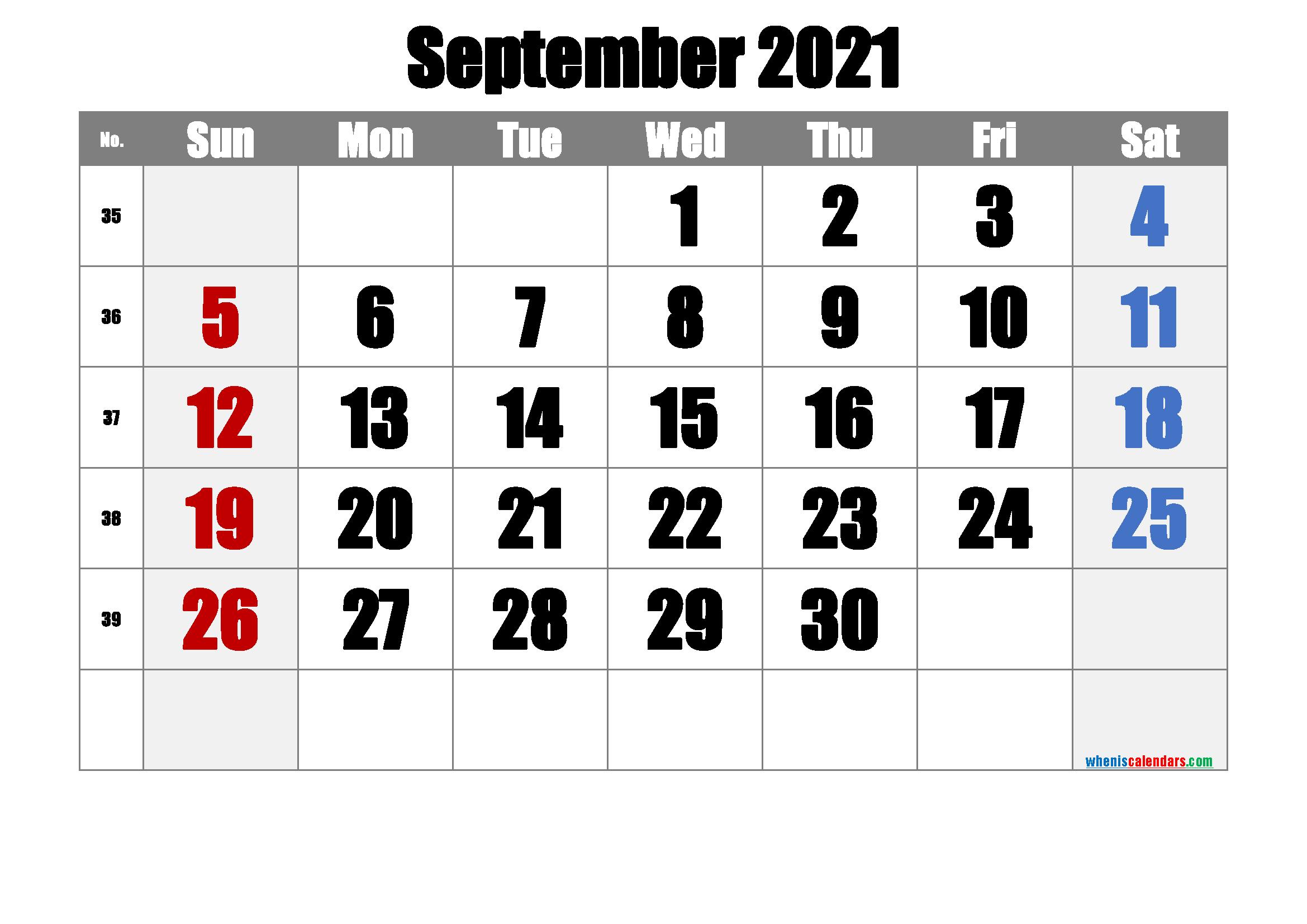 September 2021 Printable Calendar - 6 Templates - Free-Free Printable Calendar 2021 4 Months Per Page May August