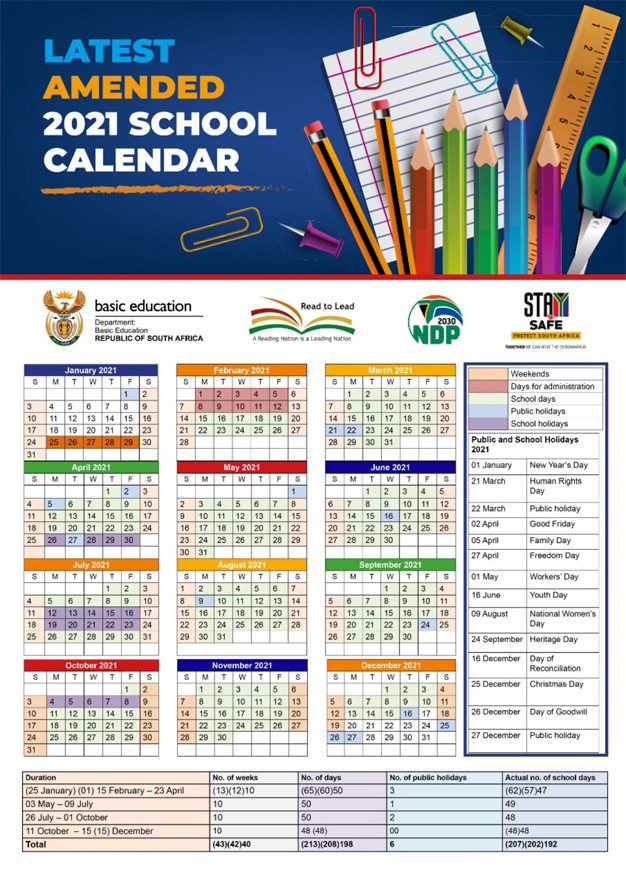 South African School Terms And Public Holidays 2021-2021 Calendar South Africa