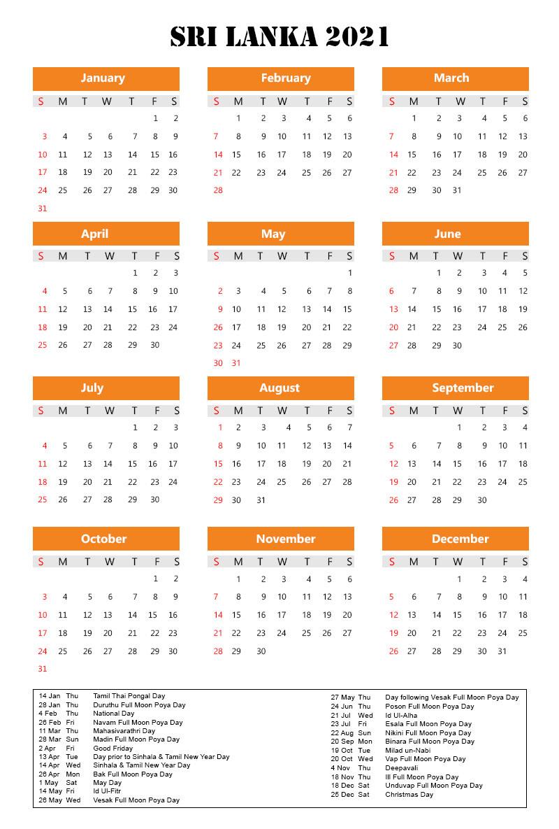 Sri Lanka 2021 Holidays | Printable Calendar Templates-2021 Holidays Mercantile Sl