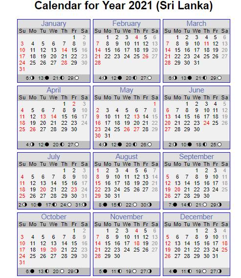 Sri Lanka Calendar 2021 With Holidays | Weekly Calendar-2021 Holidays Mercantile Sl