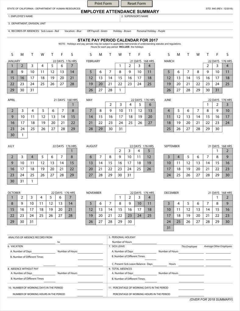 Template Absence Calender | Calendar Template 2021-Employee Attendance Calendar 2021