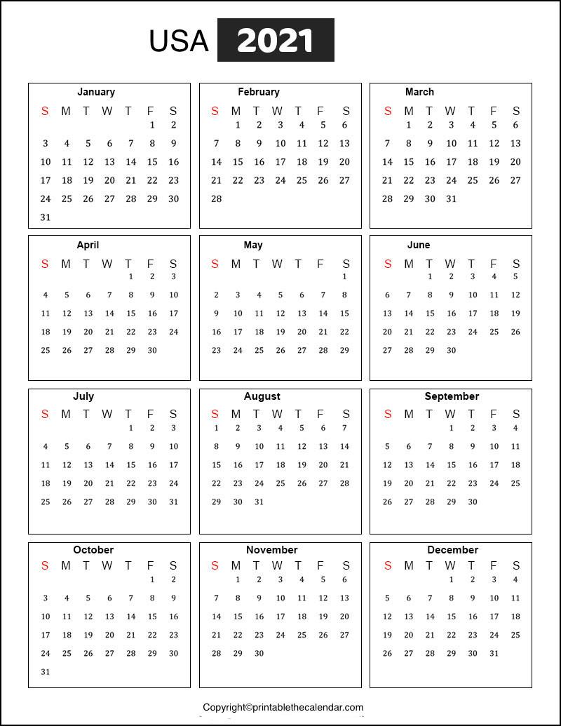 Usa Holidays 2021 | Printable The Calendar-Printable Calendar 2021 With Major Holidays