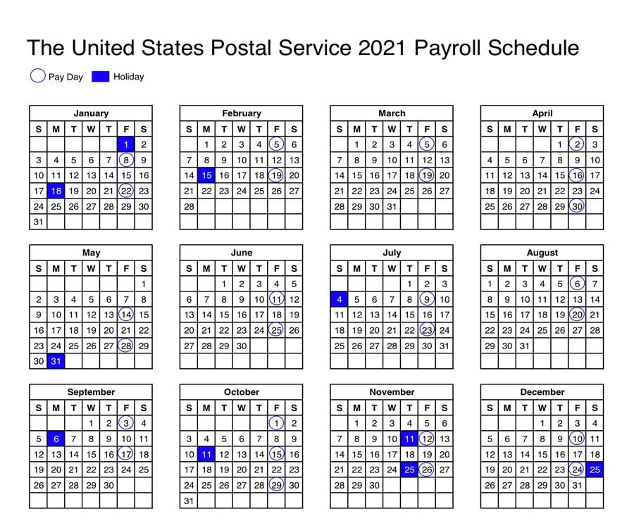 Usps: Calendar Shows 2021 Payroll Schedule - 21St Century-2021 Employee Vacation Calendar