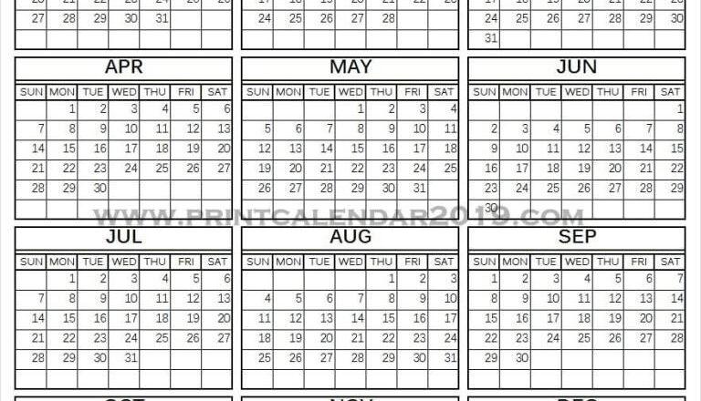 Vertical Calendar 2019 Printable | Printable Calendar-Excel 2021 Calendar Vertical List