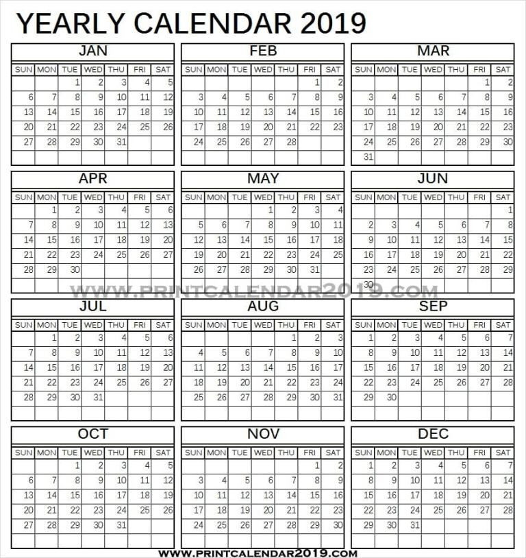 Vertical Calendar 2019 Printable   Printable Calendar-Excel 2021 Calendar Vertical List