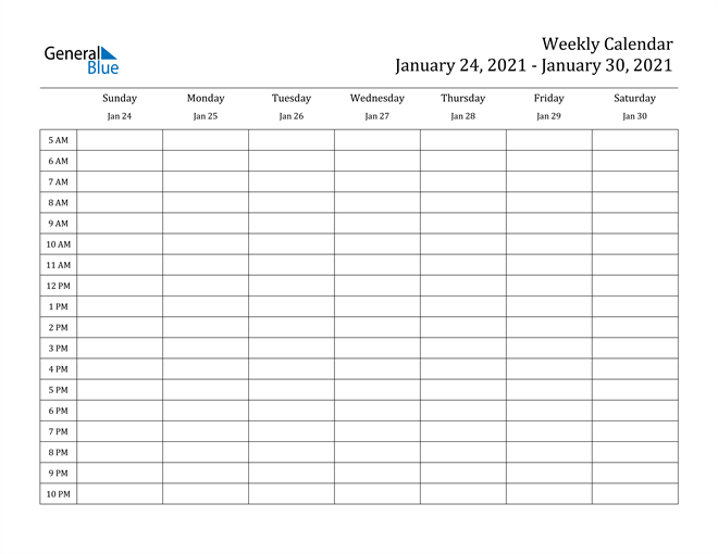 Weekly Calendar - January 24, 2021 To January 30, 2021-Free Printable Hourly Calendar 2021